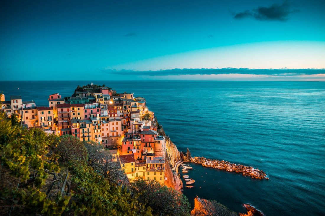 The houses in one of the villages of Cinque Terre at sundown.