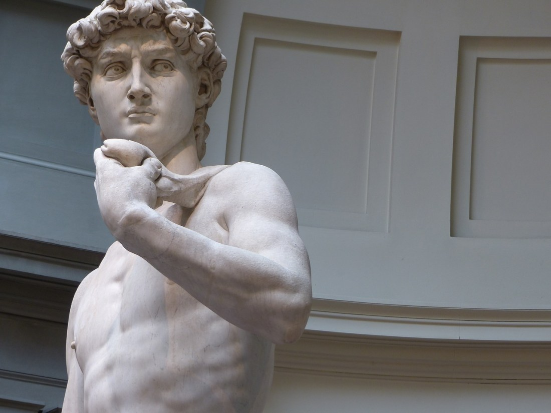 The statue of David in Florence, a supreme example of Italian art.
