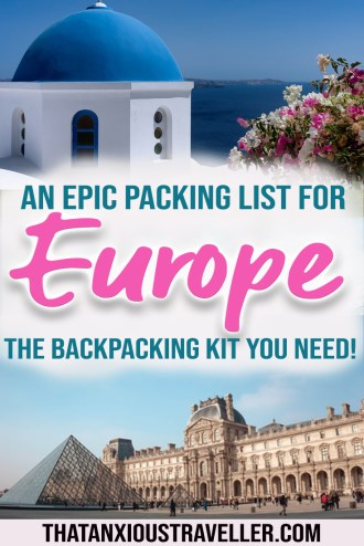 Need a printable packing list for backpacking Europe? Get all the travel accessories you'll need for traveling in Europe with this guide! Find travel products which will keep you safe, healthy, and organised, including European plugs and Panama straw hats you can roll up for an easy to pack outfit! #europe #backpacking #thatanxioustraveller