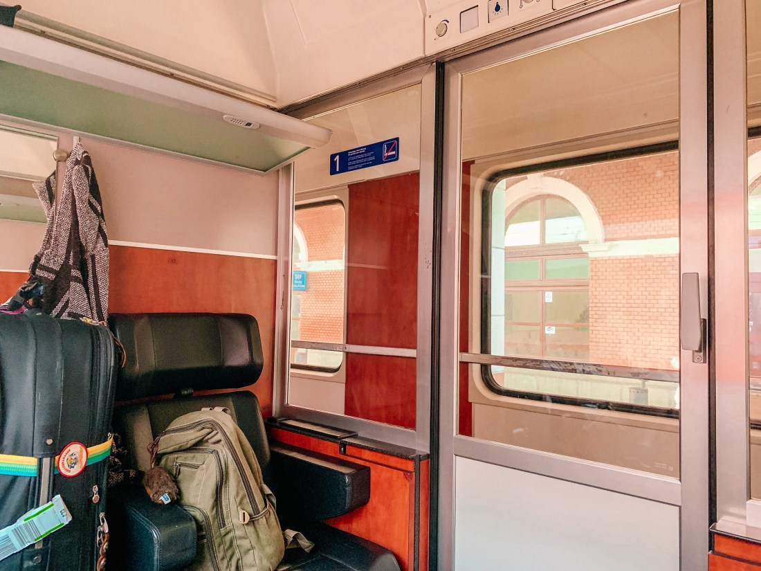 The inside of the train from Cluj to Budapest, featuring a private compartment