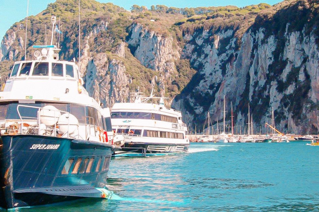 The Sorrento ferry moored in Capri's Marina Grande, the best way to travel from Capri to Sorrento