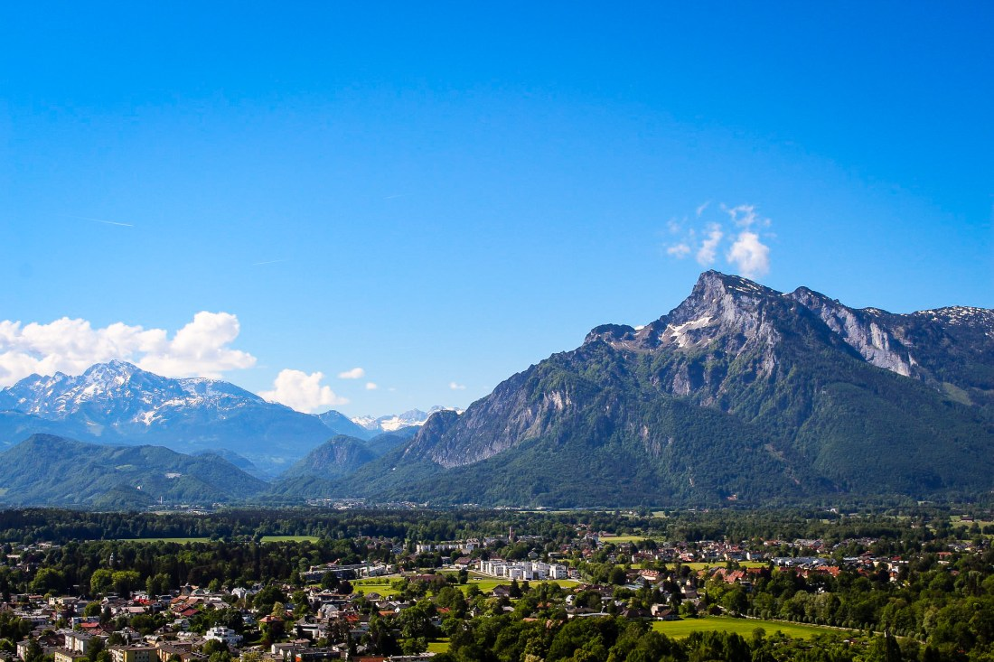 The mountain view from Salzburg Fortress, an easy day trip from Vienna!