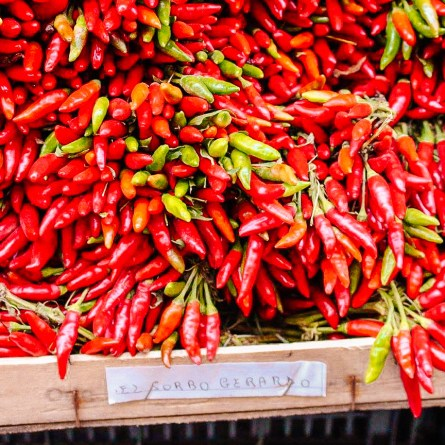 Peppers on a market stall in Sorrento. These colourful stalls can be one of the most instagrammable spots on the Amalfi Coast
