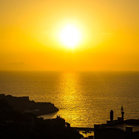 A sunset photo taken from Sorrento. The town is one of the best places on the Amalfi Coast for sunsets.