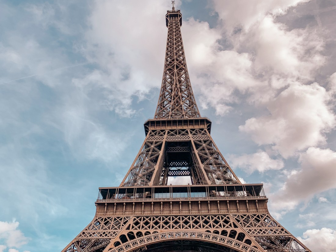 A close-up view of the Eiffel Tower in Paris. A popular sight with travelers visiting Paris for the first time.