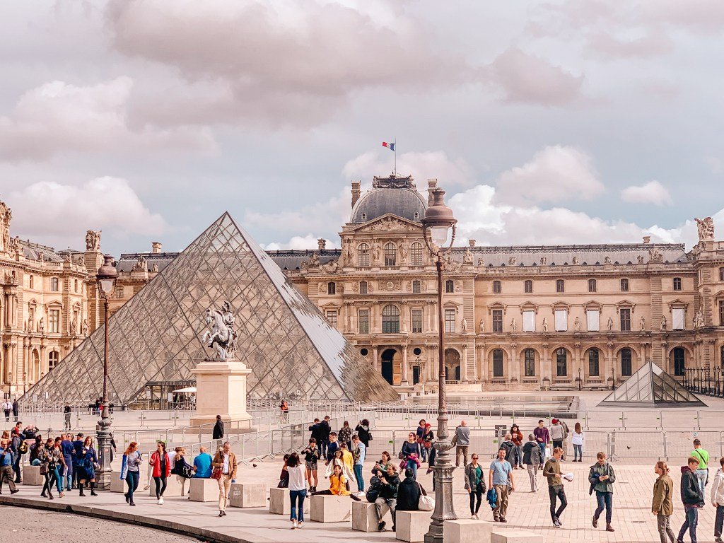 The glass pyramid of the Louvre in Paris in winter
