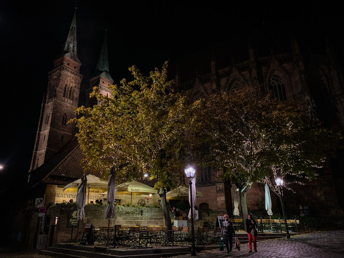 The Bratwursthausle bei St Sebald in Nuremberg, one of Nuremberg's best restaurants. The restaurant in in the shadow of the church.