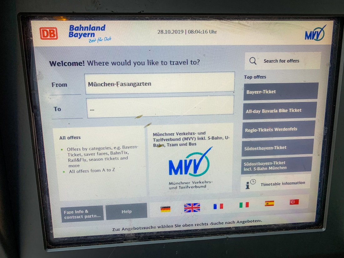The screen of a Munich public transport ticket machine showing all options in English