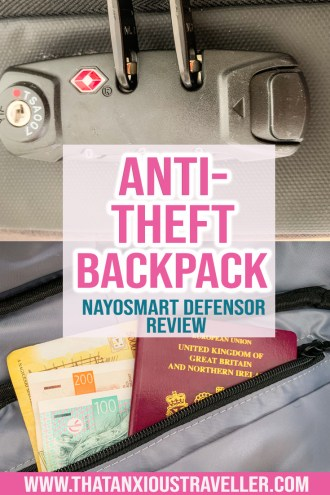 Looking for an anti theft backpack for travel? The Nayosmart Defensor has all the security features you need! Read an in-depth review, including details of its combination lock, laptop bag capabilities, hidden pockets, and cut proof material. Suitable for men or women, this stylish backpack might be just the thing you need to help your anxiety, and avoid being a target of pickpockets! #antitheftbackpack #travel #backpack #antitheft #gadgets