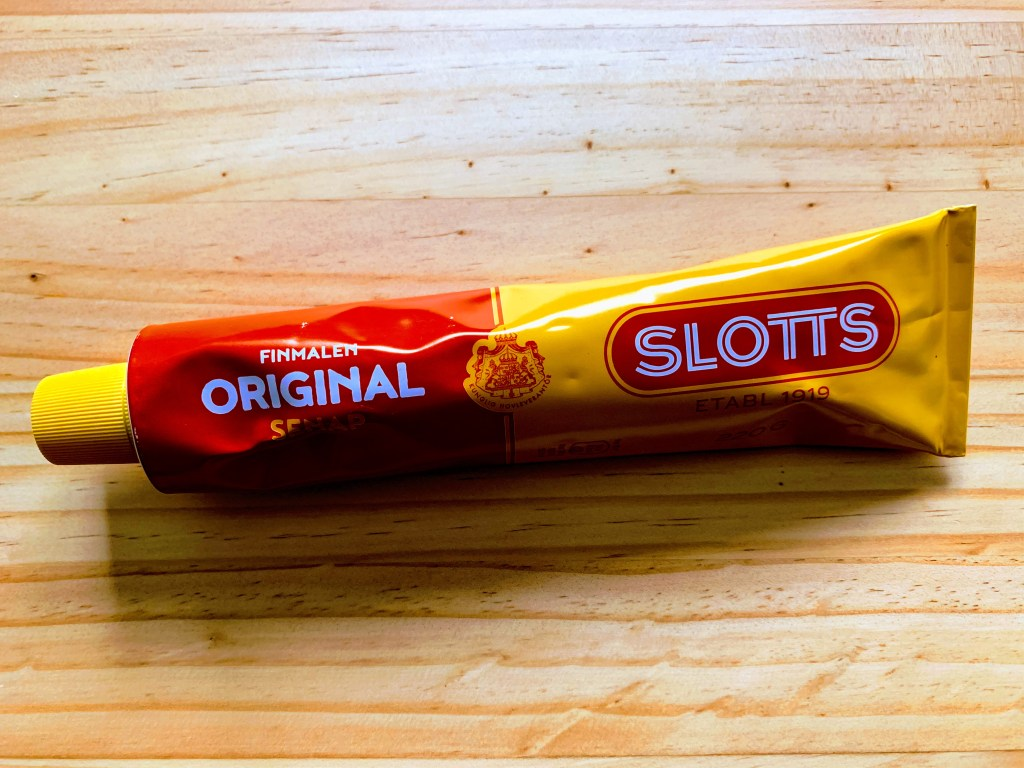A tube of Slotts Mustard, a must-buy when shopping in Stockholm