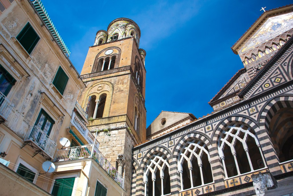 The cathedral in Amalfi. This is a town which should be considered when deciding where to stay on the Amalfi Coast