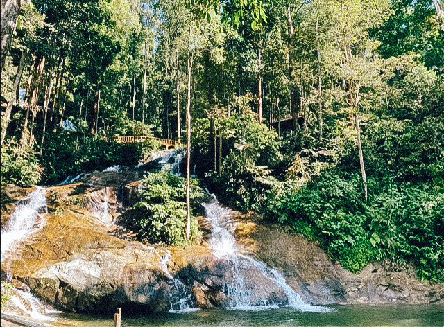 A waterfall in Kuala Lumpur. Malaysia is one of the cheapest places in Asia to fly to.