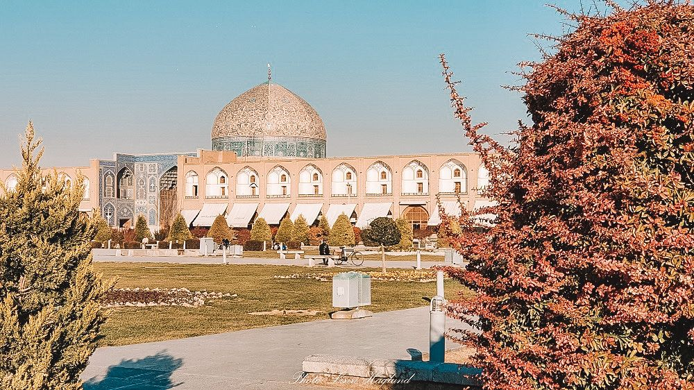 A view of a building and gardens in Iran