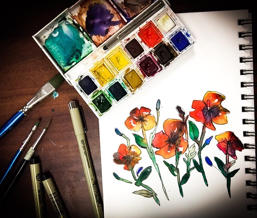 This watercolor time lapse painting explores organic flower shapes tightened up with Micron pens.