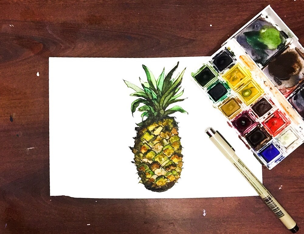 Learn how to paint a pineapple with all of the extra details and textures.