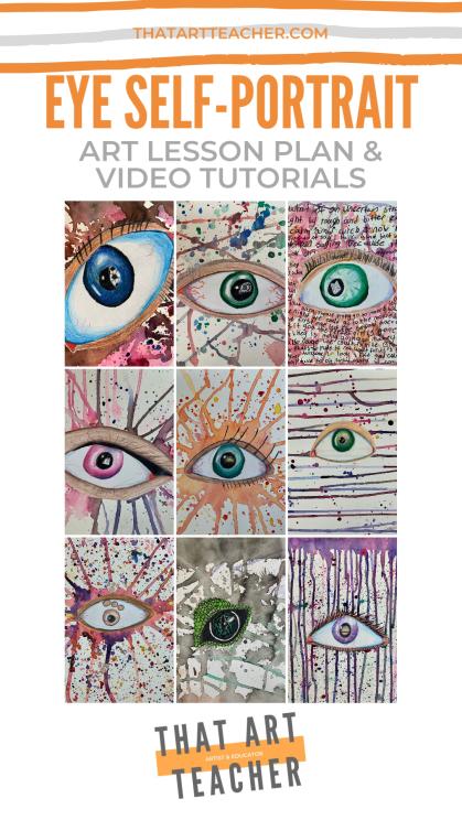Eye Self Portrait Colored Pencil Art Lesson