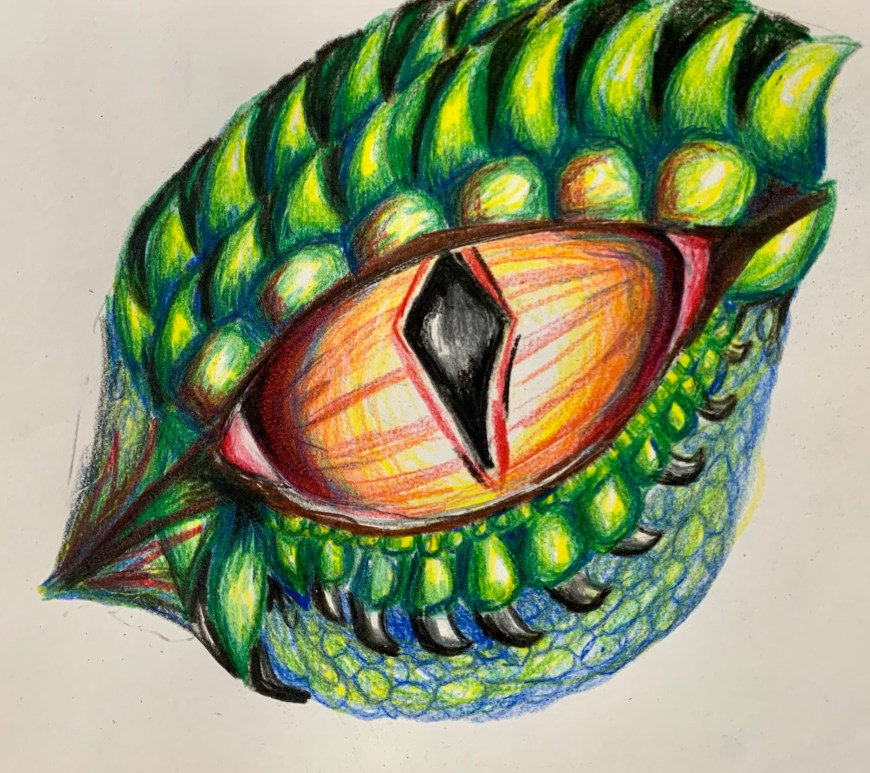 How to draw a dragon eye with colored pencils