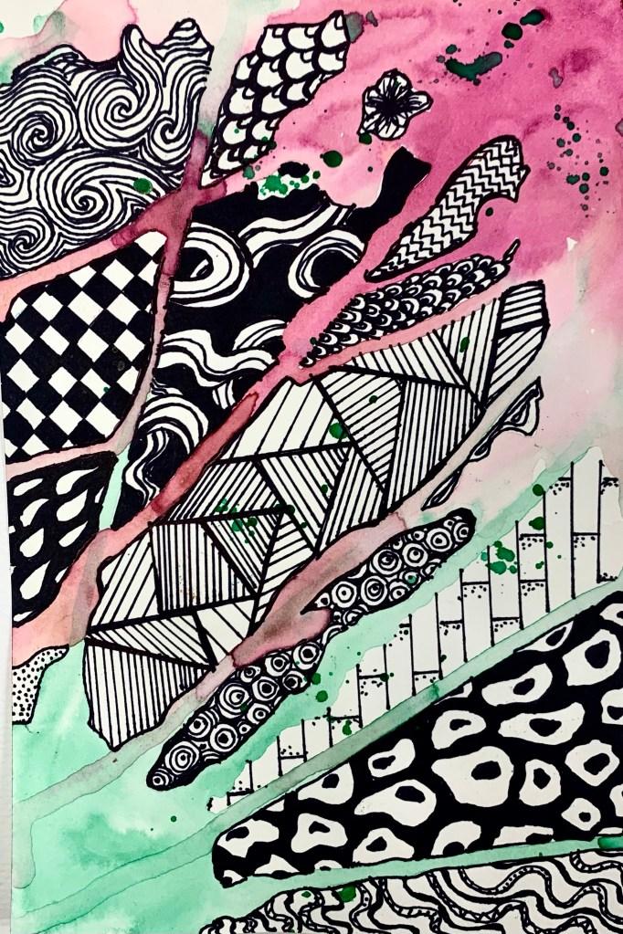 Watercolor Drip Zentangle