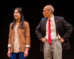 """Stephenie Soohyun Park and Francis Jue in the world premiere production of """"King of the Yees."""" Written by Lauren Yee, directed by Joshua Kahan Brody and produced in association with Goodman Theatre, """"King of the Yees"""" plays through August 6, 2017, at Center Theatre Group's Kirk Douglas Theatre. For tickets and information, please visit CenterTheatreGroup.org or call (213) 628-2772. Media Contact: CTGMedia@ctgla.org / (213) 972-7376. Photo by Craig Schwartz."""