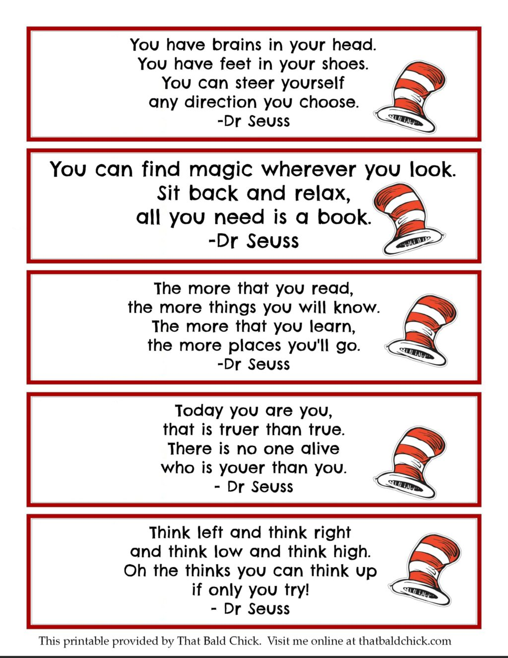 13 Dr Seuss Printables Free Bookmarks That Bald Chick