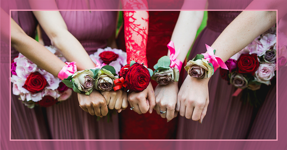 real wedding inspiration - flowers on wrists