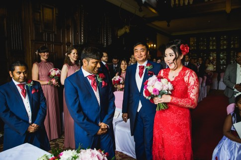 First look - red wedding dress - D&H wedding - real wedding inspiration