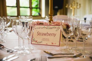 Colour coordinated table names - D&H wedding - real wedding inspiration