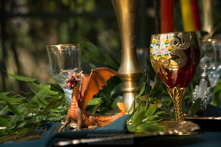 Game of thrones themed wedding - dragon tablescape with orange dragon