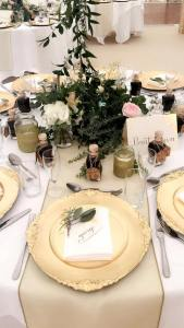 Gold, green and cream wedding tablescape inspiration