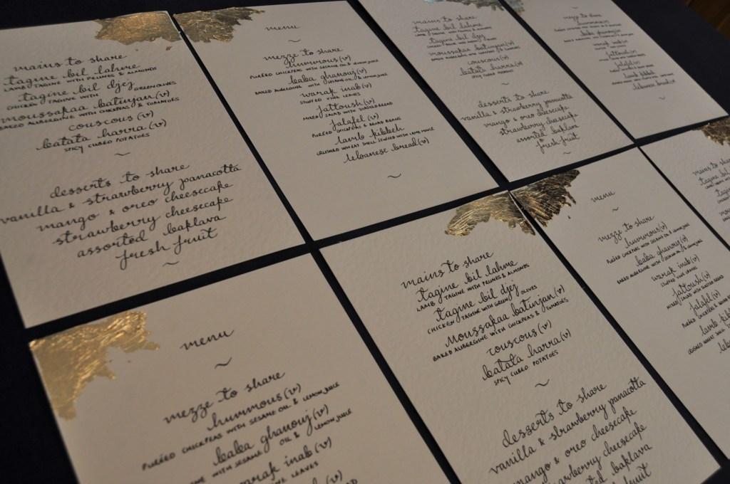 Haneen and Toms wedding - alternative wedding planner - nottingham wedding planner - leicester weddings - wedding menus calligraphy
