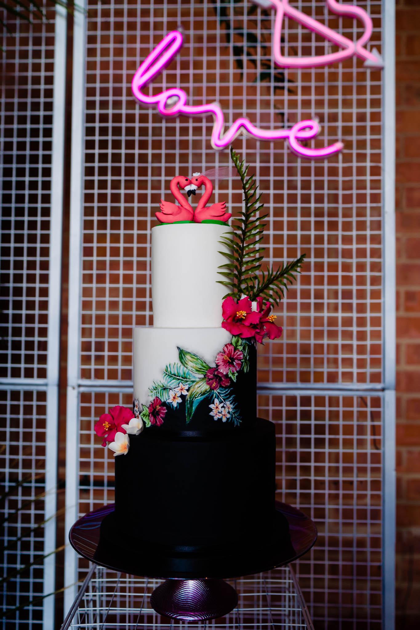 flamingo wedding cake - modern wedding cake - tropical wedding cake - modern tropical wedding - modern wedding - modern bride - east midlands wedding planner