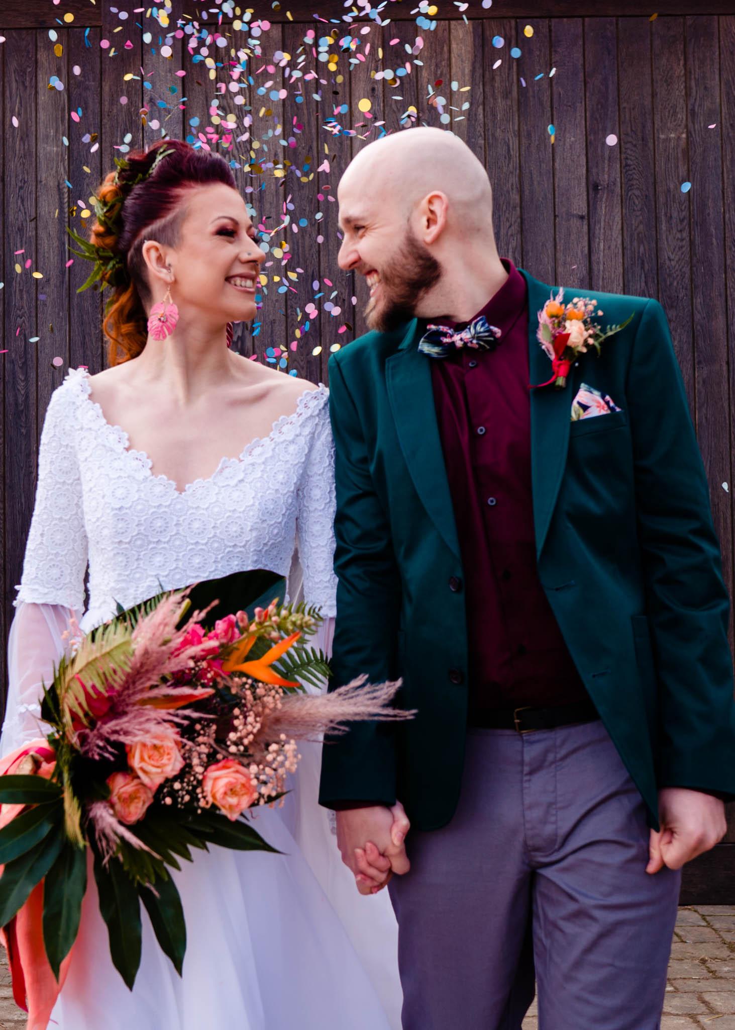 wedding confetti photo - modern wedding photos - colourful wedding - modern tropical wedding - modern wedding - modern bride - east midlands wedding planner
