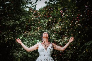 Woodland Wedding - nottingham outdoor wedding venue - east midlands wedding planner - bridal confetti photo