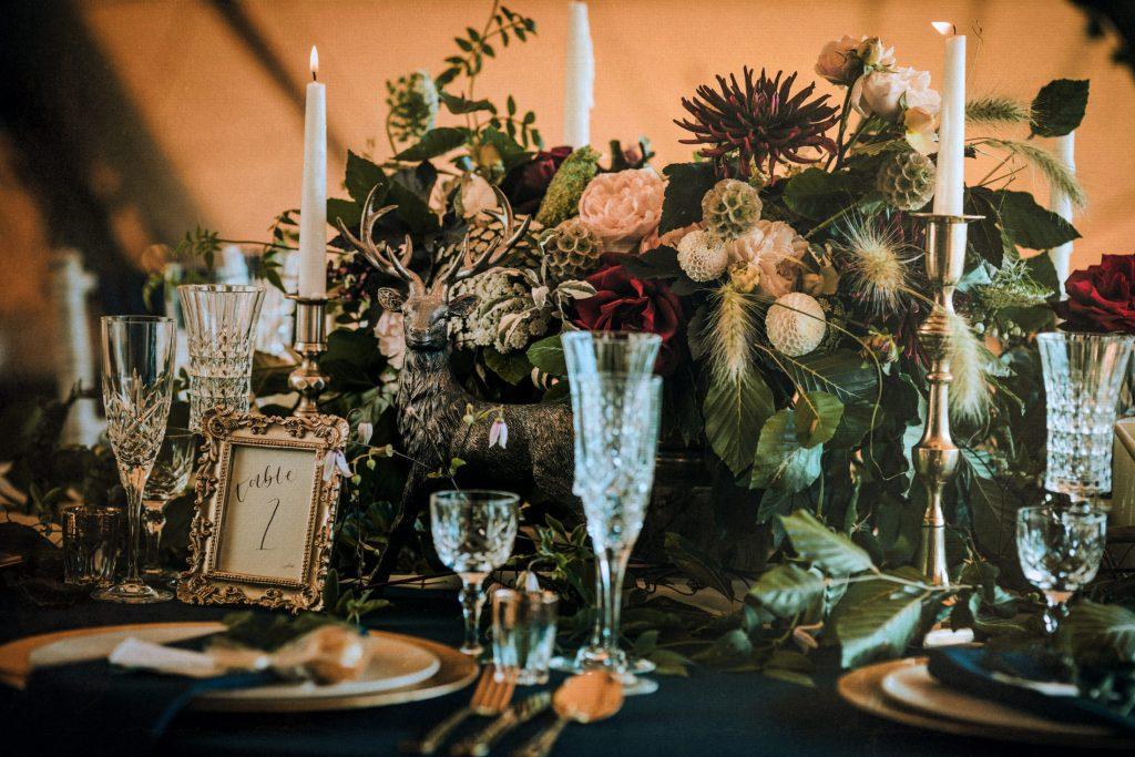 Woodland Wedding - nottingham outdoor wedding venue - east midlands wedding planner - luxurious wedding styling - east midlands wedding flowers - luxurious wedding table