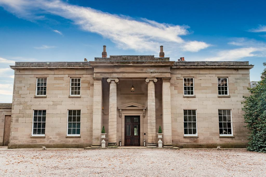 The front of Fillongley Hall, Warwickshire marquee venue