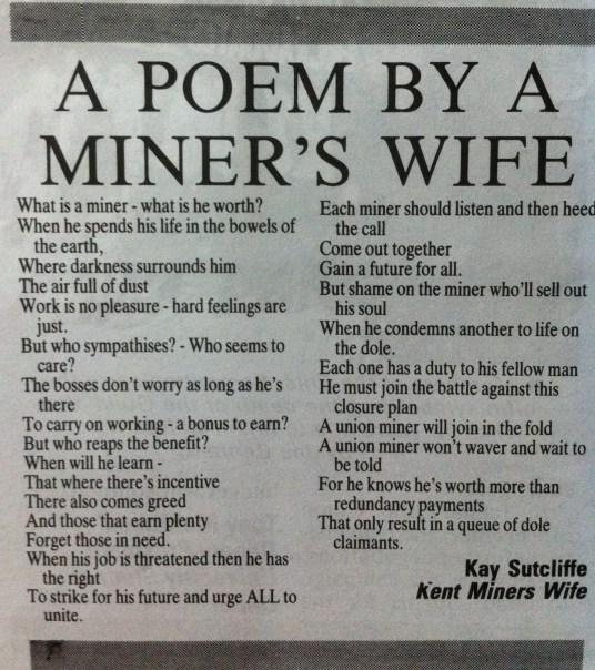 Poem from a miner's wife