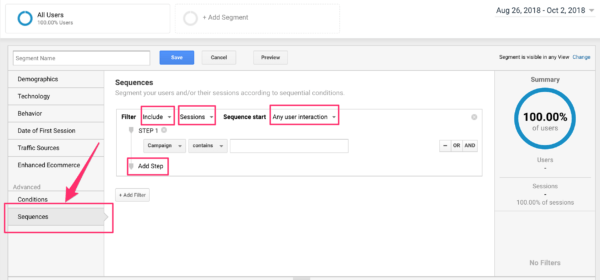 Aspects of sequences in segments in Google Analytics