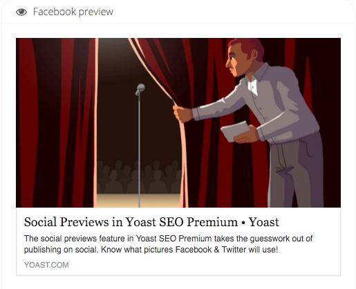 Facebook preview of this social previews article, showing the featured image and the meta description being used