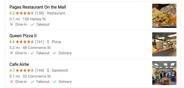 Google's display of local restaurants