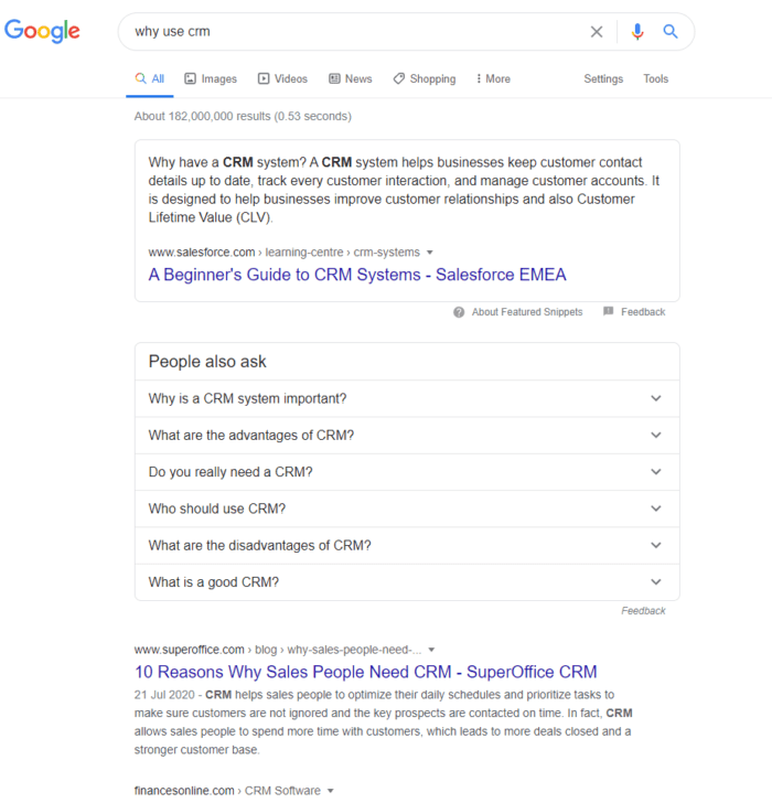 CRM purpose SERP example featured snippet
