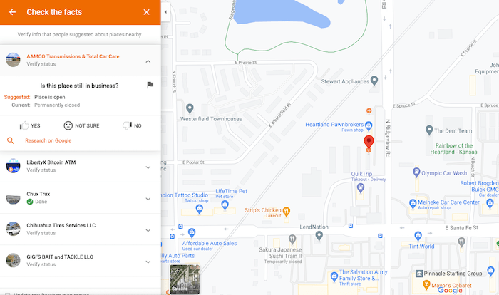 google guides local listing error review example