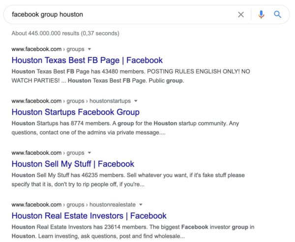 google results for search query facebook group houston