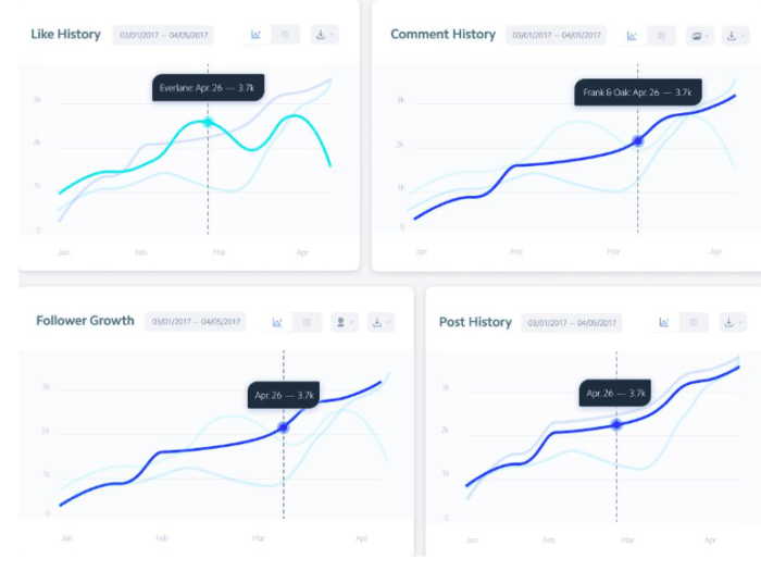 Instagram analytics tool overview graphs