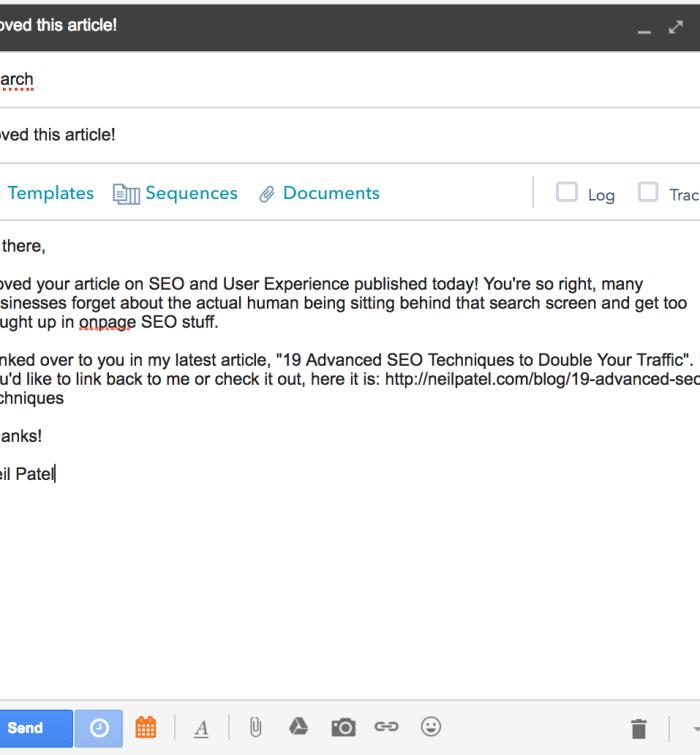 advanced SEO techniques outreach email