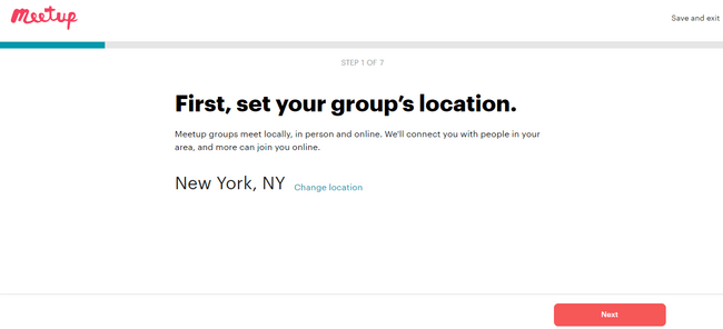 Setting your group's location on Meetup, an alternative to yahoo groups