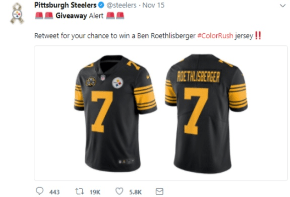 twitter for SEO giveaway example Pittsburgh steelers