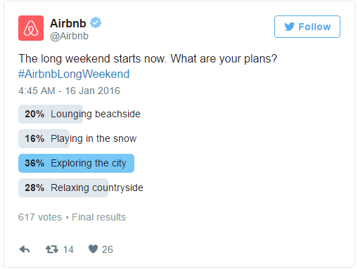 twitter for SEO airbnb poll example