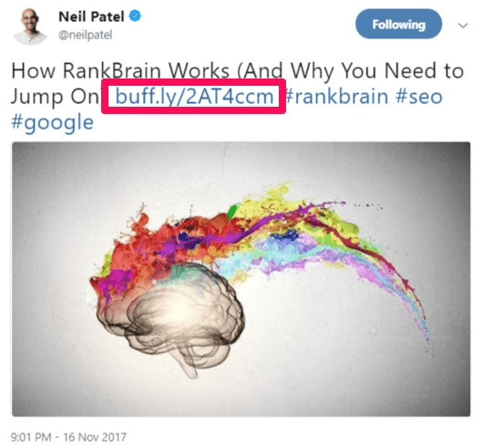 twitter for SEO tips example from Neil Patel