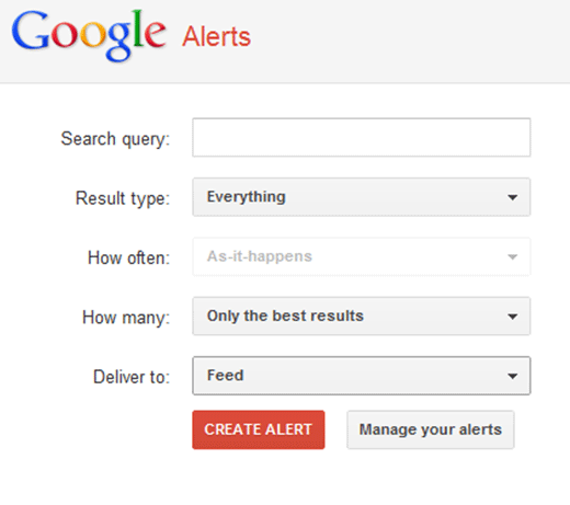 google alerts tool for competitor analysis