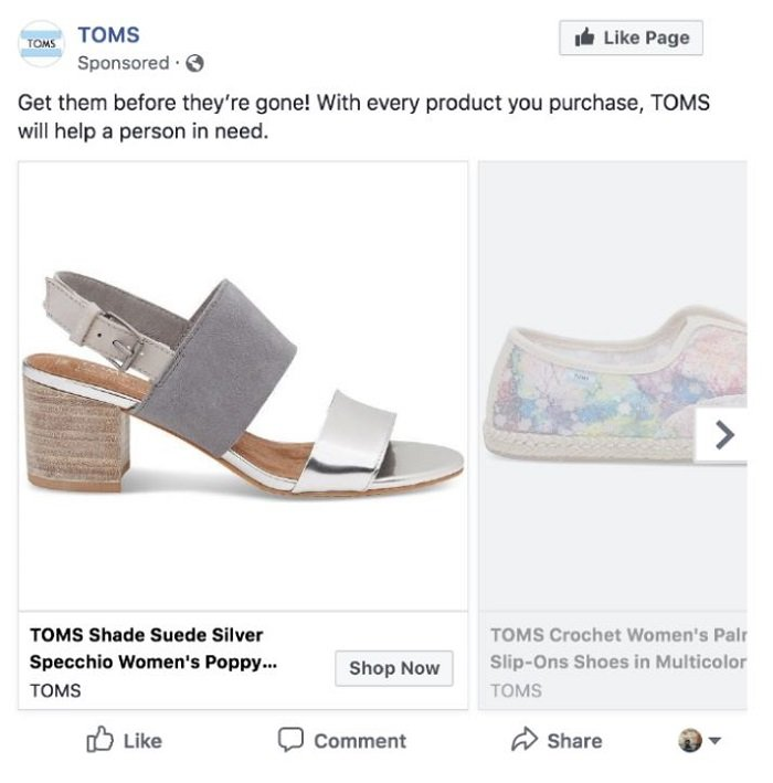 toms marketing ethics sponsored ad